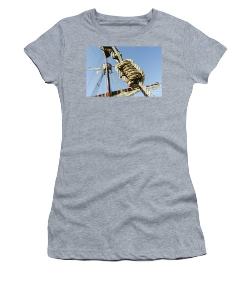 Rigging And Ropes On An Old Sailing Ship To Sail In Summer. Women's T-Shirt