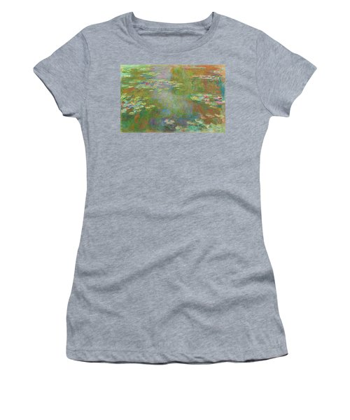 Women's T-Shirt featuring the digital art Water Lily Pond by Claude Monet