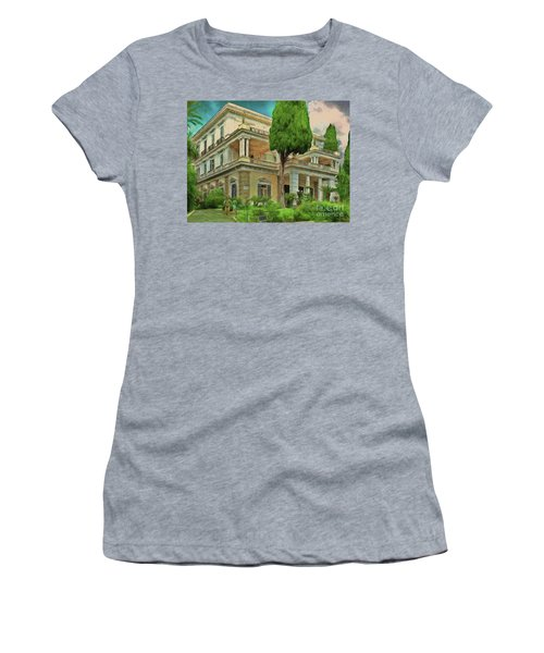 Women's T-Shirt featuring the photograph Achilleion Palace Corfu by Leigh Kemp