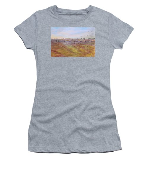 Women's T-Shirt featuring the painting After The Harvest by Norma Duch