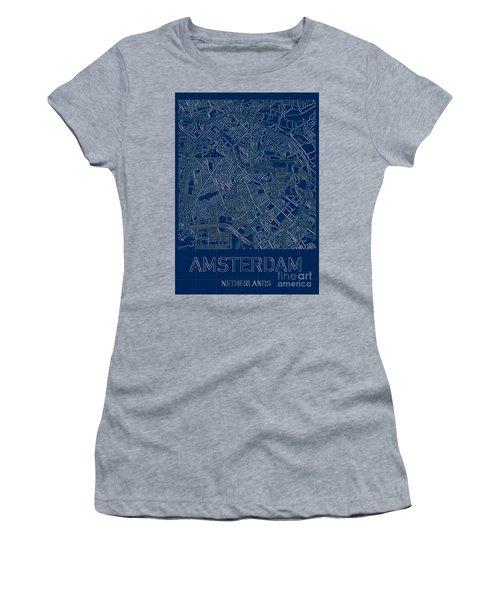 Amsterdam Blueprint City Map Women's T-Shirt