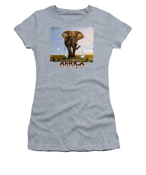 Elephant And Cattle Egrets Women's T-Shirt