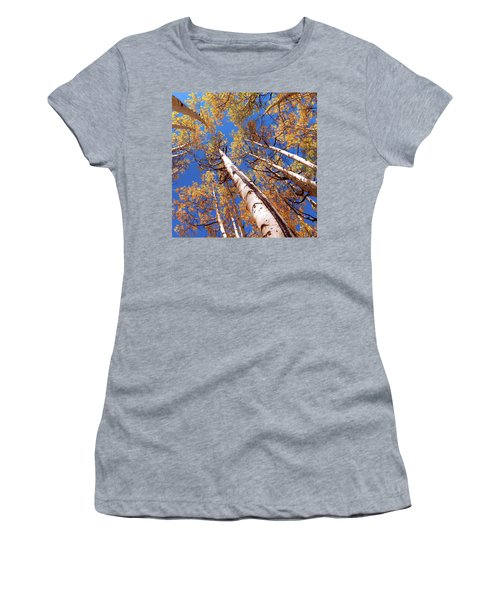 Women's T-Shirt (Athletic Fit) featuring the pyrography Aspen Trees Against The Sky In Crested Butte, Colorado.   by OLena Art Brand
