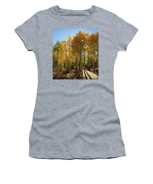 Women's T-Shirt (Athletic Fit) featuring the digital art Autumn Blaze Outside Of Crested Butte, Colorado.  by OLena Art Brand