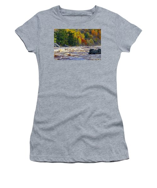 Autumn Colors And Rushing Rapids   Women's T-Shirt