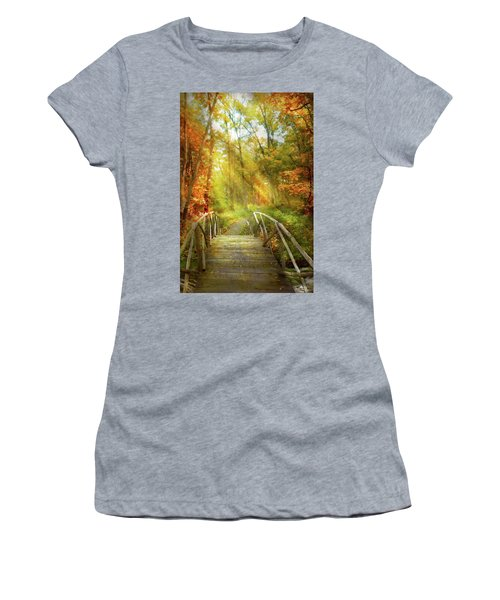 Women's T-Shirt (Athletic Fit) featuring the photograph Autumn - Nice Day For A Walk by Mike Savad
