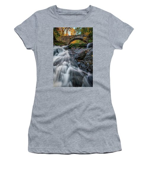 Women's T-Shirt (Athletic Fit) featuring the photograph Autumn Waterfall In Hallowell by Rick Berk