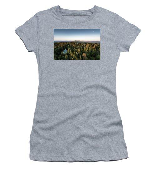 Balsam Lake Mountain Sunset Moon Women's T-Shirt