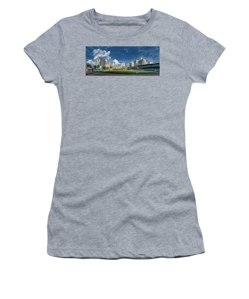 Women's T-Shirt featuring the photograph Bbt Baseball Charlotte Nc Knights Baseball Stadium And City Skyl by Alex Grichenko