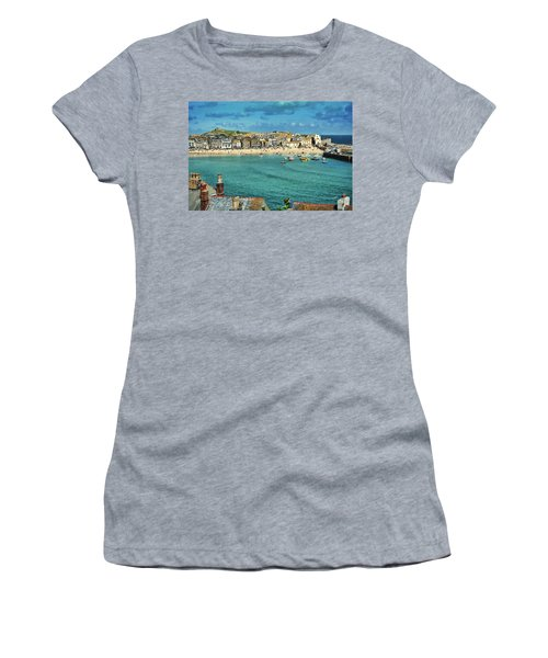 Beach From Across Bay St. Ives, Cornwall, England Women's T-Shirt