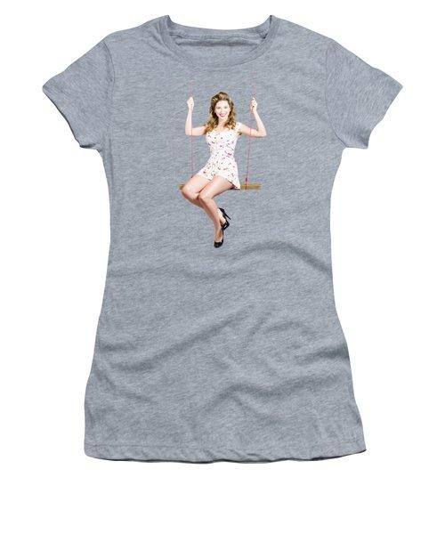 Beautiful Fifties Pin Up Girl Smiling On Swing Women's T-Shirt