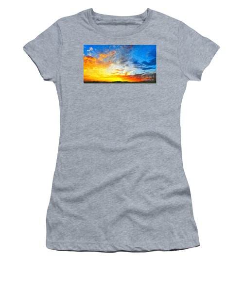 Beautiful Sunset In Landscape In Nature With Warm Sky, Digital A Women's T-Shirt