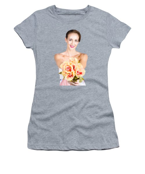 Beautiful Woman Holding Florist Flowers Women's T-Shirt