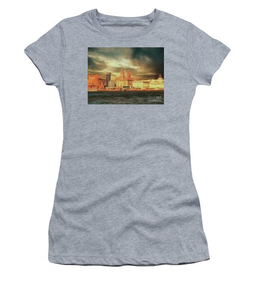 Women's T-Shirt featuring the photograph Big Sky Over The Mersey by Leigh Kemp