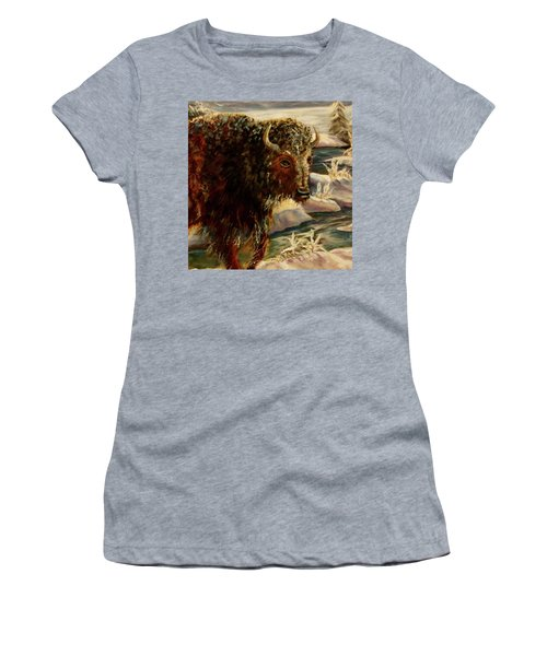 Bison In The Depths Of Winter In Yellowstone National Park Women's T-Shirt