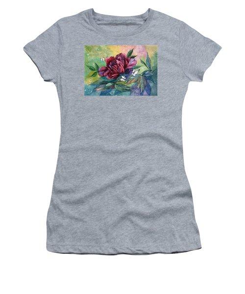 Black Peony Flower And Butterflies Women's T-Shirt
