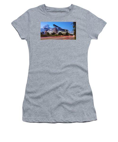Blue Hour Photograph Of Nrg Stadium - Home Of The Houston Texans - Houston Texas Women's T-Shirt