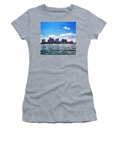 Boston Skyline From Boston Harbor  Women's T-Shirt