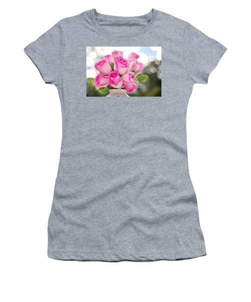 Bouquet Of Pink Roses Women's T-Shirt (Athletic Fit)