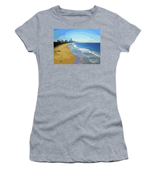 Burleigh Beach Gold Coast Australia 070708 Cartoon Women's T-Shirt