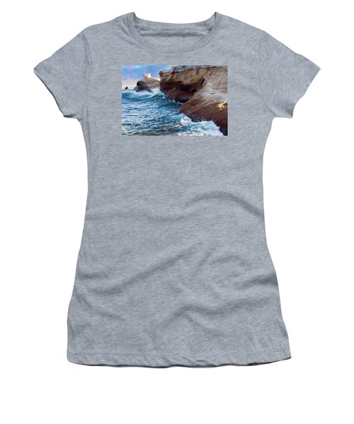Women's T-Shirt (Athletic Fit) featuring the photograph Cape Kiwanda Oregon V4 by Rospotte Photography