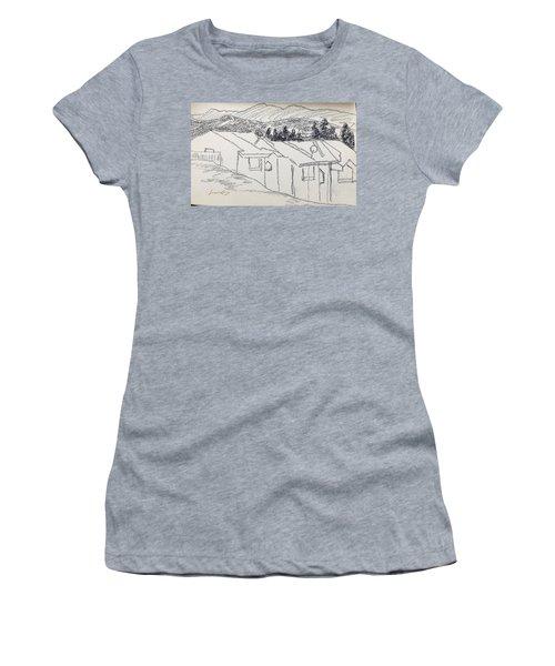 Charcoal Pencil Houses1.jpg Women's T-Shirt