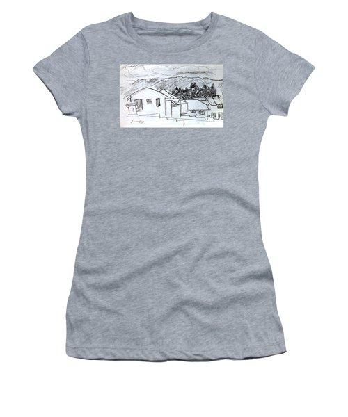 Charcoal Pencil Houses.jpg Women's T-Shirt