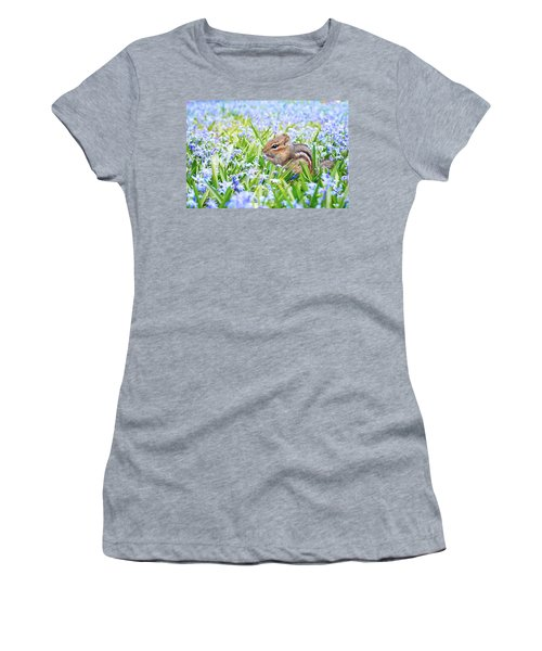Chipmunk On Flowers Women's T-Shirt