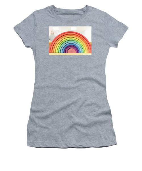 Colorful Waldorf Wooden Rainbow In A Montessori Teaching Pedagogy Classroom. Women's T-Shirt
