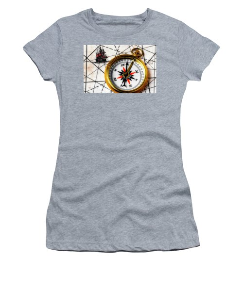 Compass On Old Ship Map Women's T-Shirt