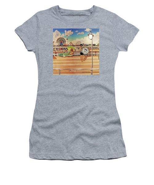 Coney Island Boardwalk Pillow Mural #4 Women's T-Shirt