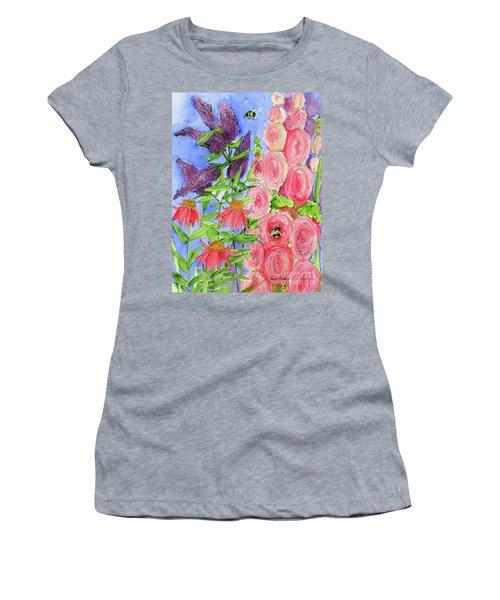 Cottage Garden Hollyhock Bees Blue Skie Women's T-Shirt