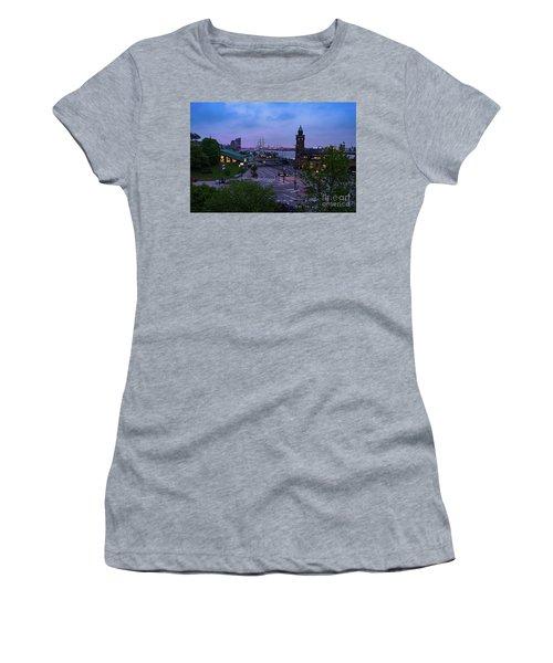 Dawn Over The Port And City Hamburg Panorama Women's T-Shirt