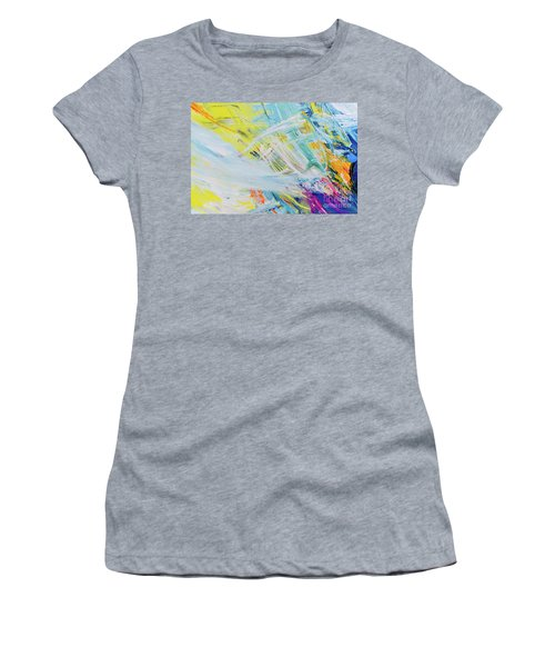 Detail Of Brush Strokes Of Random Colors To Use As Background An Women's T-Shirt