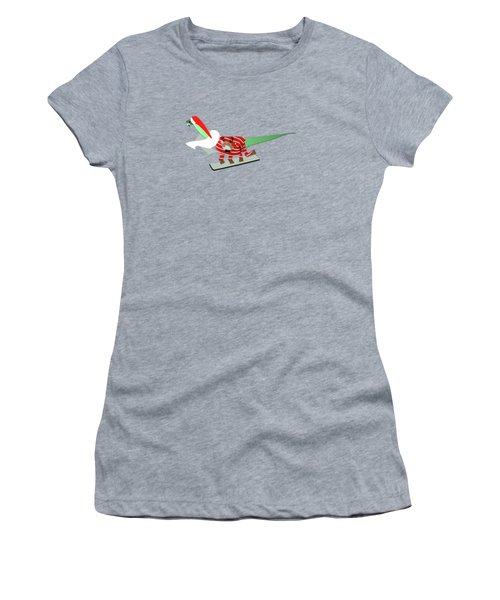 Dinosaur Snowboarding In Ugly Christmas Jumper Women's T-Shirt