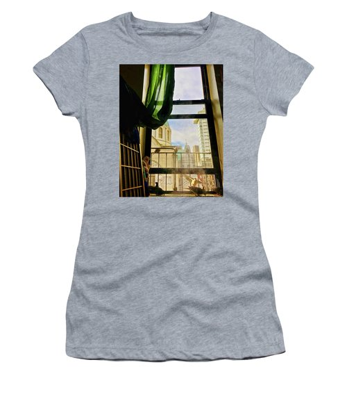 Women's T-Shirt featuring the photograph Doves In My Window by Joan Reese