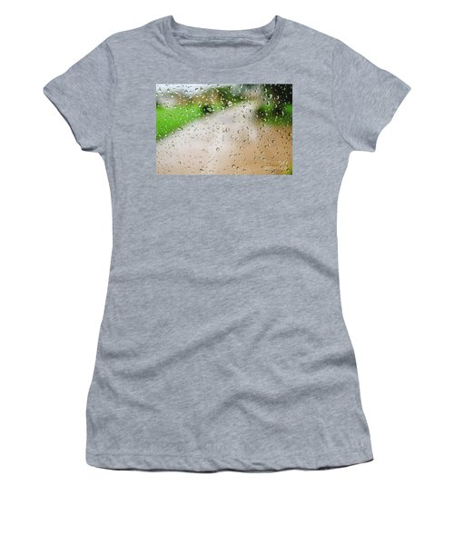 Drops Of Rain On An Autumn Day On A Glass. Women's T-Shirt