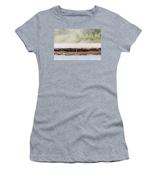 Women's T-Shirt featuring the photograph Dust Of The Wildebeestj by Kay Brewer
