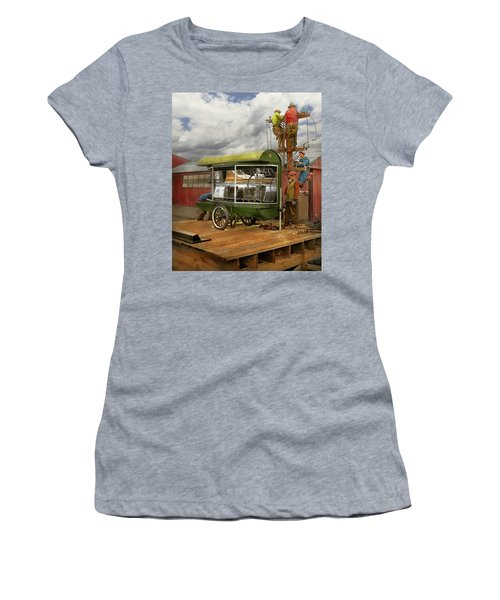 Women's T-Shirt (Athletic Fit) featuring the photograph Electrician - Linemen - Installing Search Lights 1929 by Mike Savad