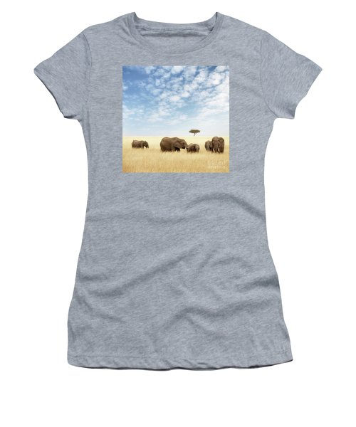 Elephant Group In The Grassland Of The Masai Mara Women's T-Shirt