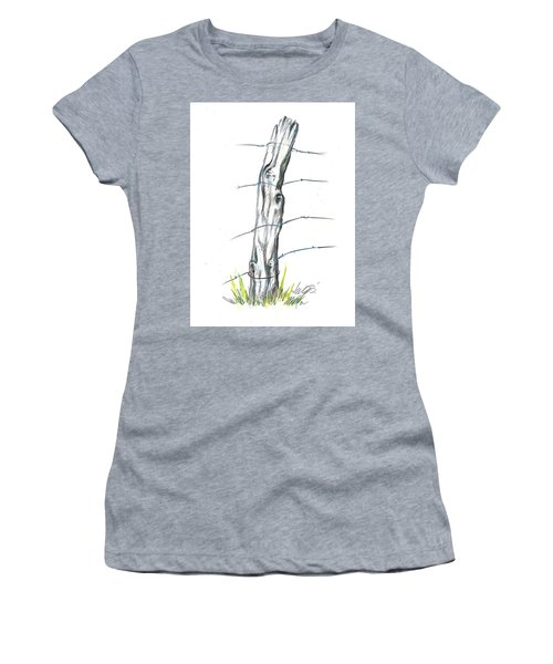 Fence Post Colored Pencil Sketch  Women's T-Shirt