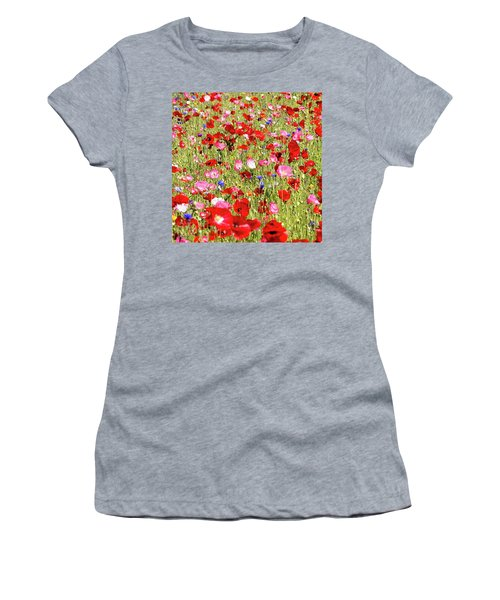 Field Of Red Poppies Women's T-Shirt