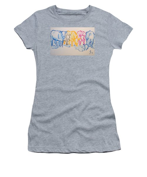 Five Cows Five Colors Watercolor Line Drawing Women's T-Shirt