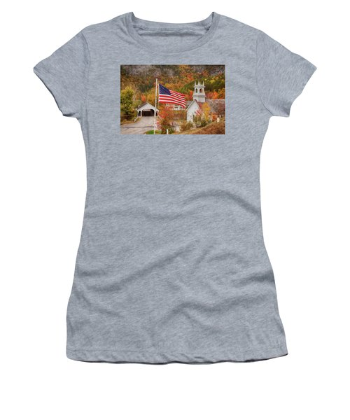 Flag Flying Over The Stark Covered Bridge Women's T-Shirt