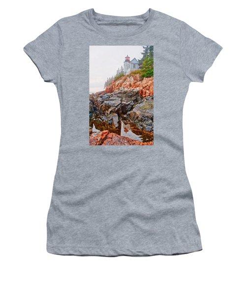 Foggy Bass Harbor Lighthouse Women's T-Shirt