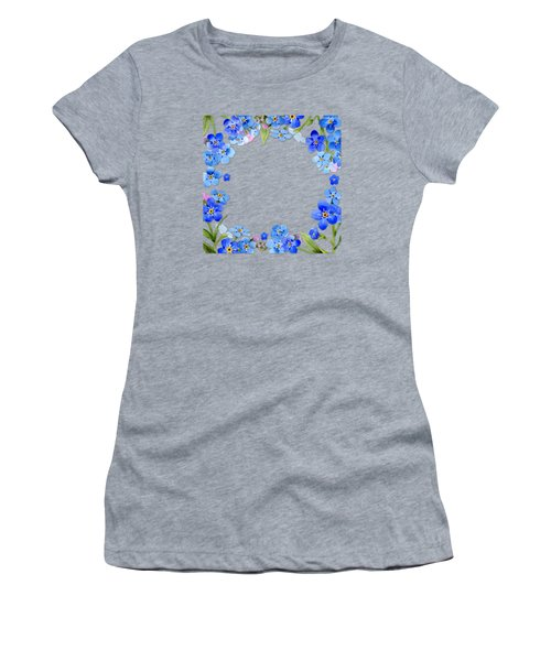 Frame Wreath Of Blue Forget Me Not Flowers On Cream Marble Women's T-Shirt