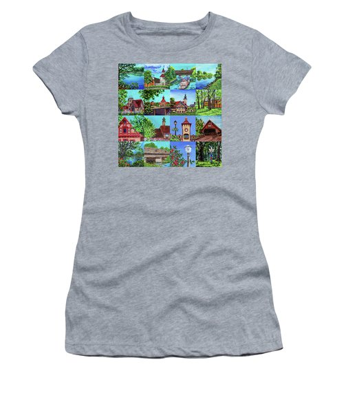 Frankenmuth Downtown Michigan Painting Collage I Women's T-Shirt