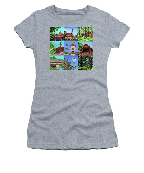 Frankenmuth Downtown Michigan Painting Collage Iv Women's T-Shirt