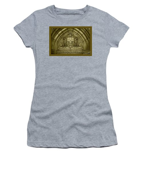 Golden God Country Notre Dame Detail On Basilica Memorial Door Header Women's T-Shirt