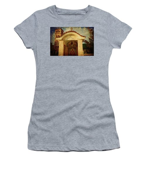 Women's T-Shirt featuring the photograph Greek Church by Milena Ilieva